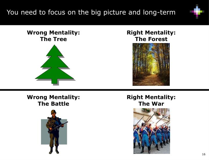 You need to focus on the big picture and long-term