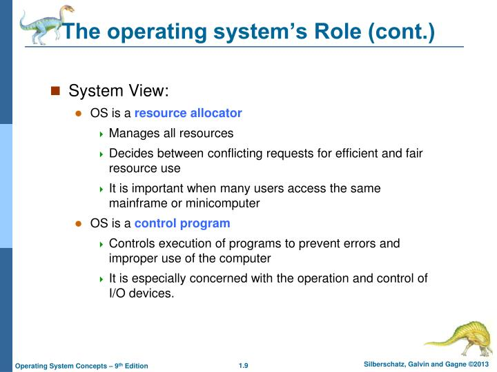 The operating system's Role (cont.)