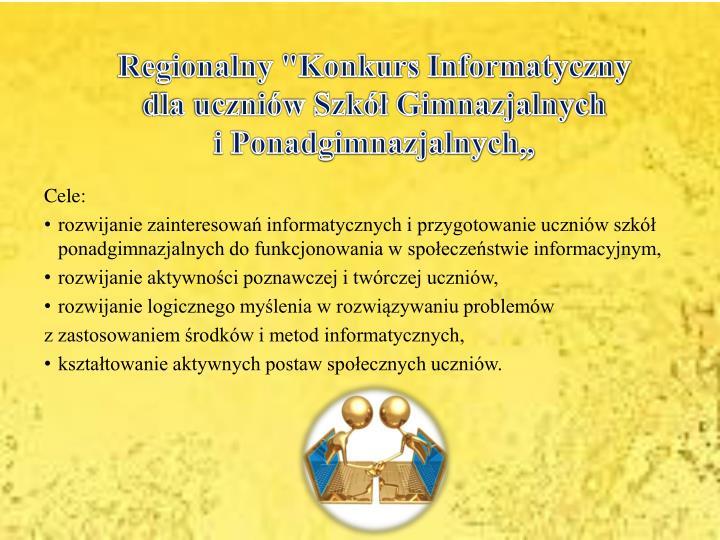 """Regionalny """"Konkurs Informatyczny"""