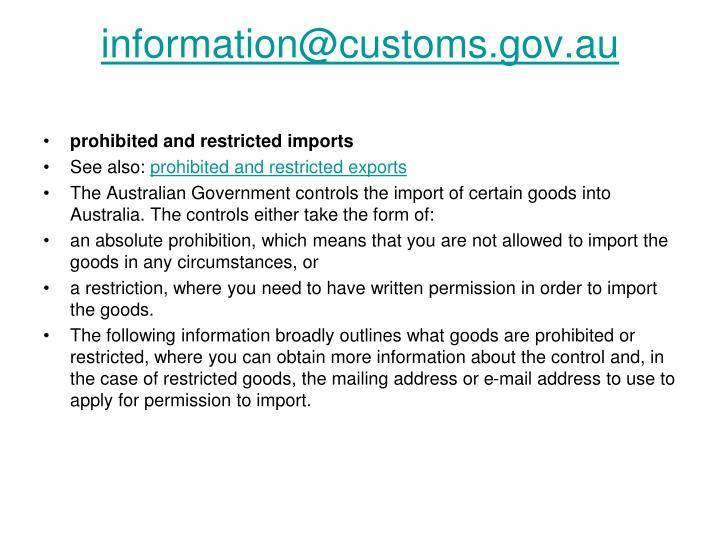 information@customs.gov.au