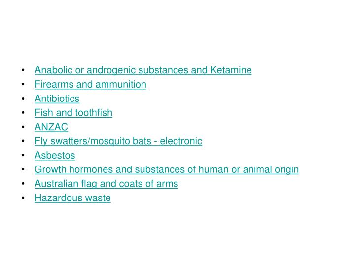 Anabolic or androgenic substances and Ketamine