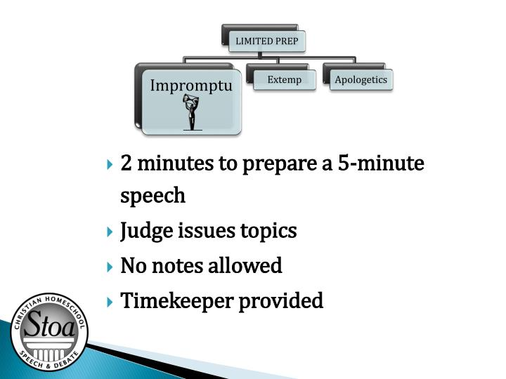 2 minutes to prepare a 5-minute speech
