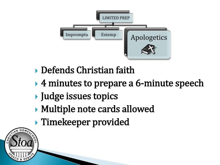 Defends Christian faith