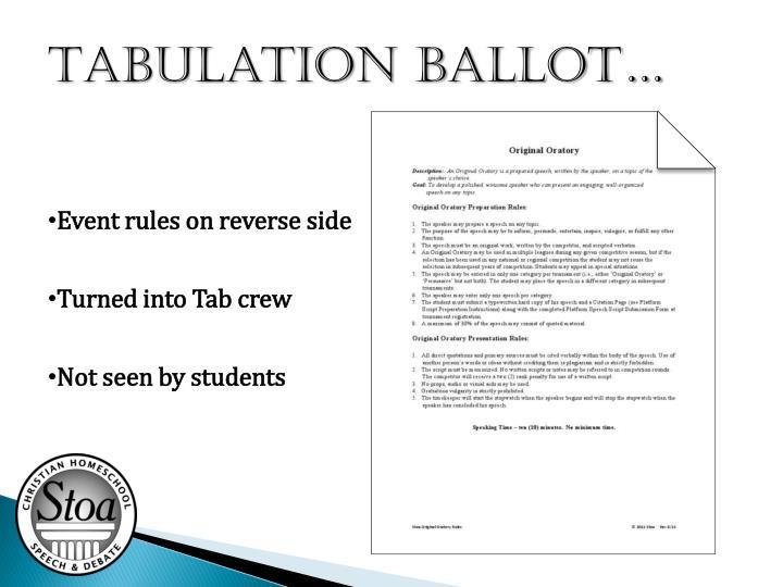 Tabulation ballot…