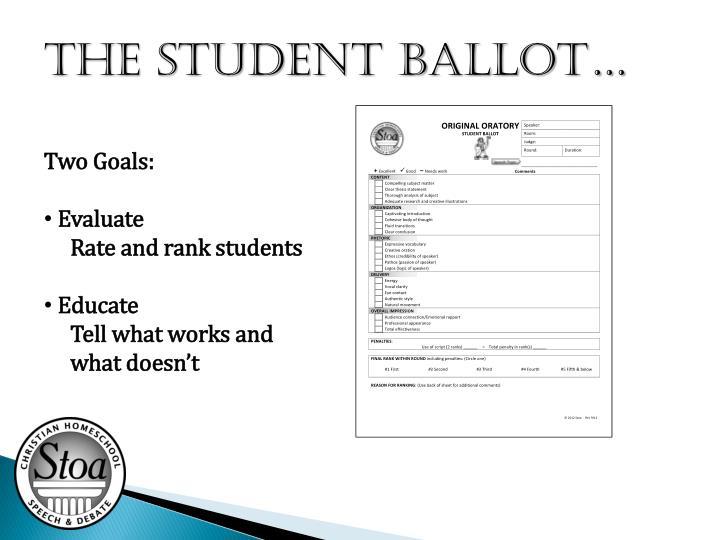 The STUDENT Ballot…