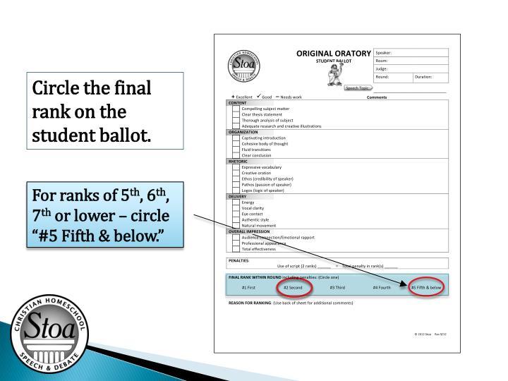Circle the final rank on the student ballot.