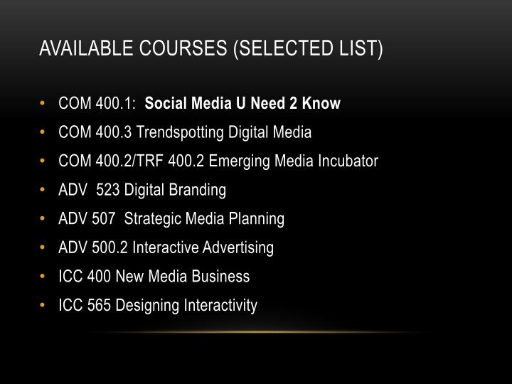 Available courses (selected list)