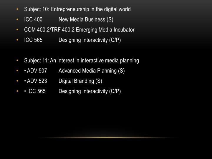 Subject 10: Entrepreneurship in the digital world