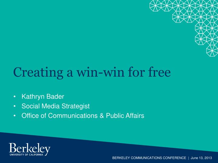 Creating a win-win for free