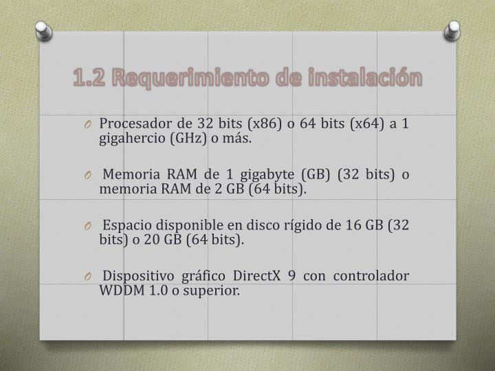 1.2 Requerimiento de instalación