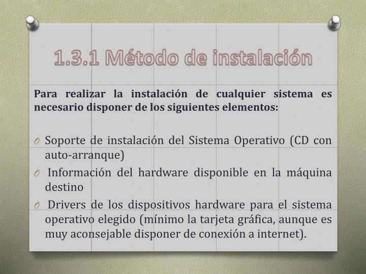 1.3.1 Método de instalación