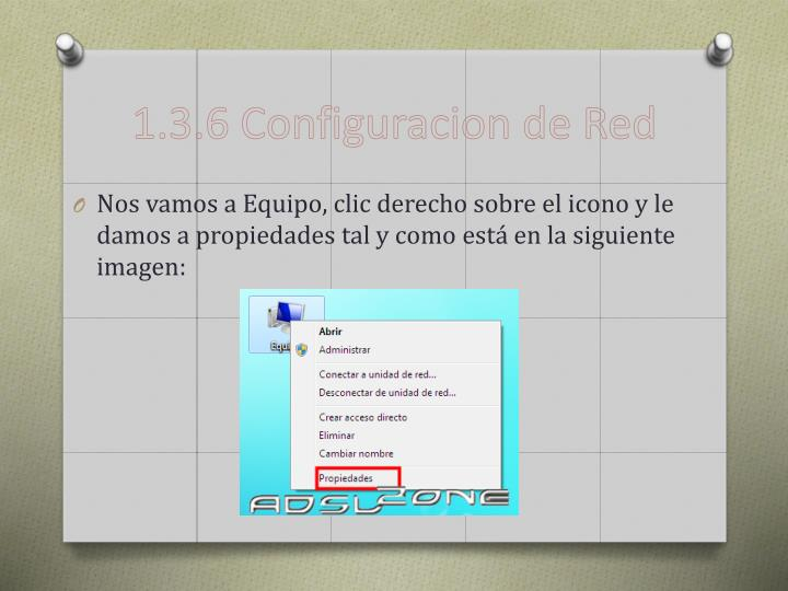 1.3.6 Configuracion de Red
