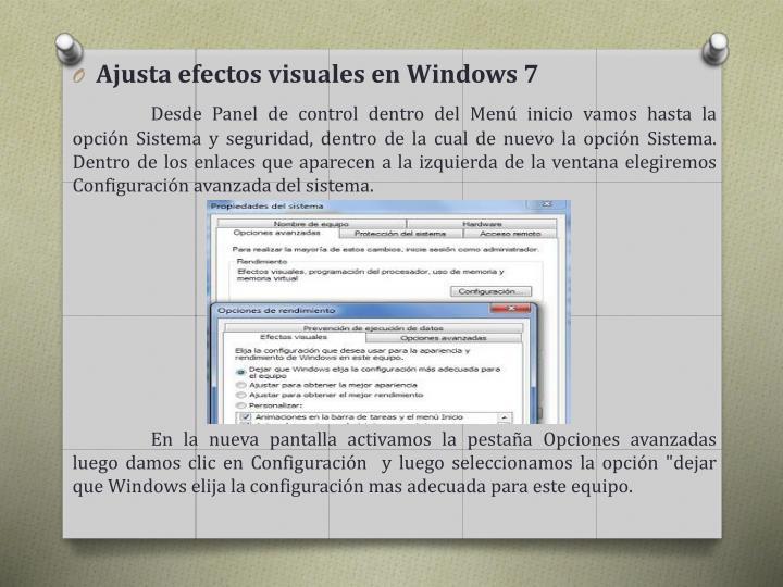 Ajusta efectos visuales en Windows
