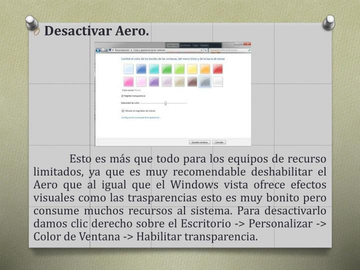 Desactivar Aero