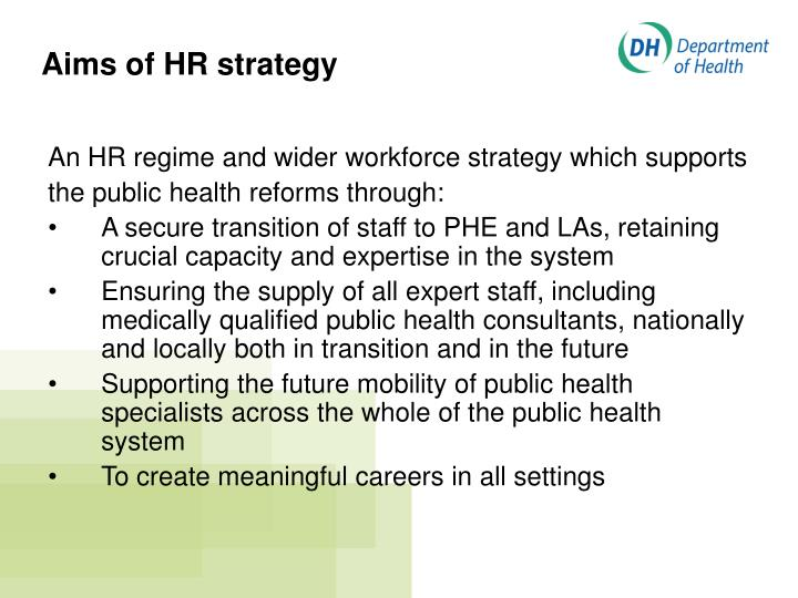 Aims of HR strategy
