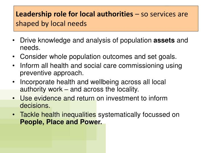 Leadership role for local authorities