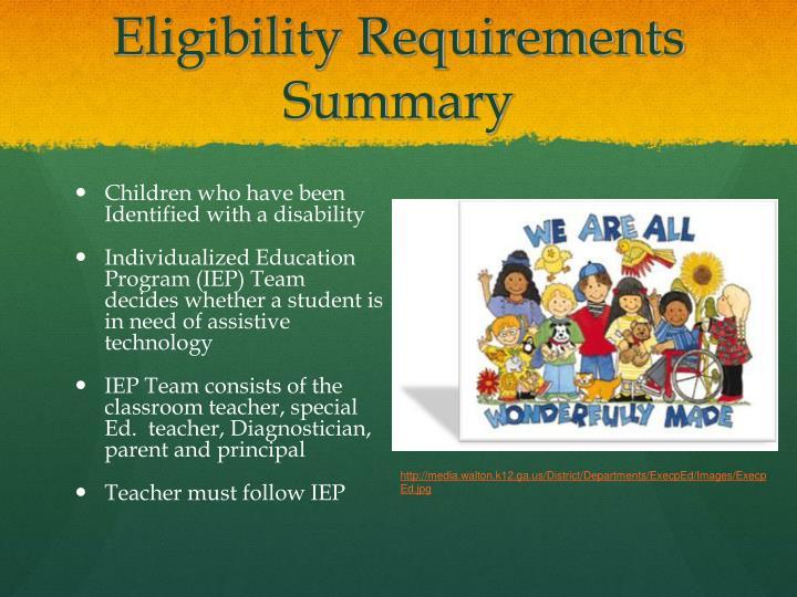 Eligibility Requirements Summary