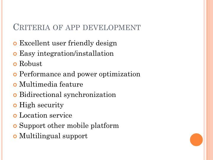 Criteria of app development