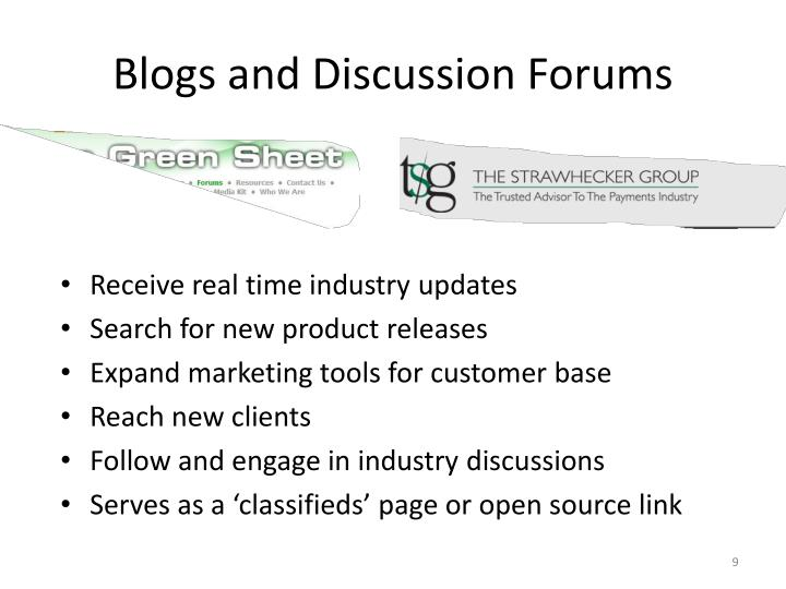 Blogs and Discussion Forums