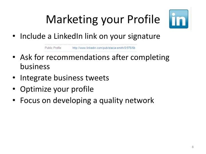 Marketing your Profile