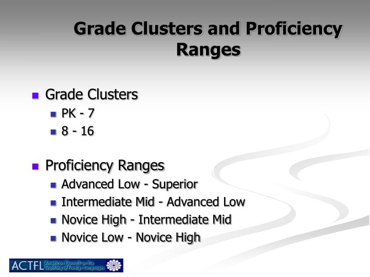 Grade Clusters and Proficiency Ranges