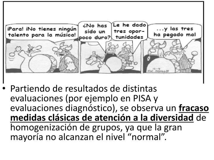 Partiendo de resultados de distintas evaluaciones (por ejemplo en PISA y evaluaciones diagnóstico), se observa un