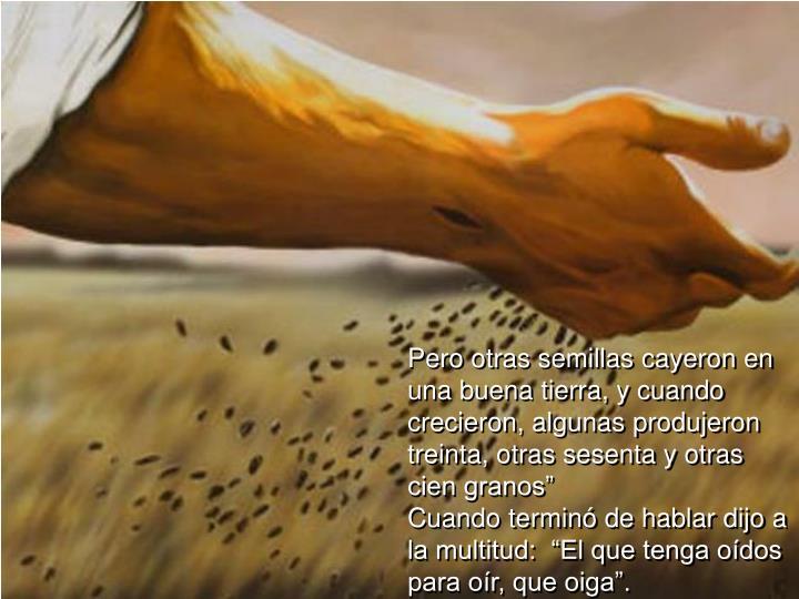 """Pero otras semillas cayeron en una buena tierra, y cuando crecieron, algunas produjeron treinta, otras sesenta y otras cien granos"""""""