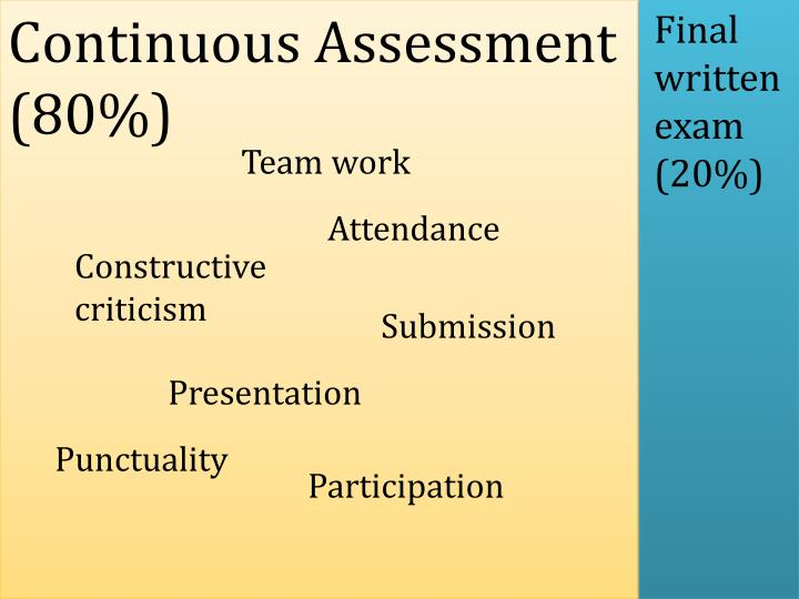 Continuous Assessment (80%)