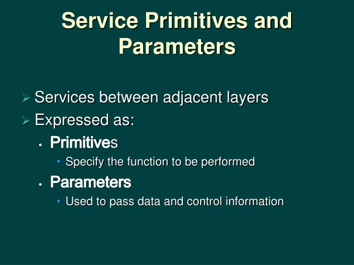 Service Primitives and Parameters