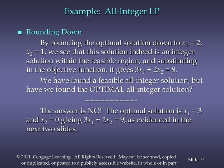 Example:  All-Integer LP