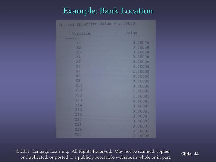 Example: Bank
