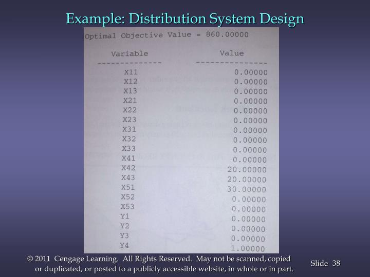 Example: Distribution System