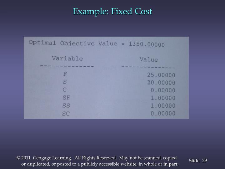 Example: Fixed Cost