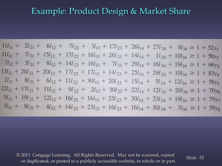 Example: Product Design & Market