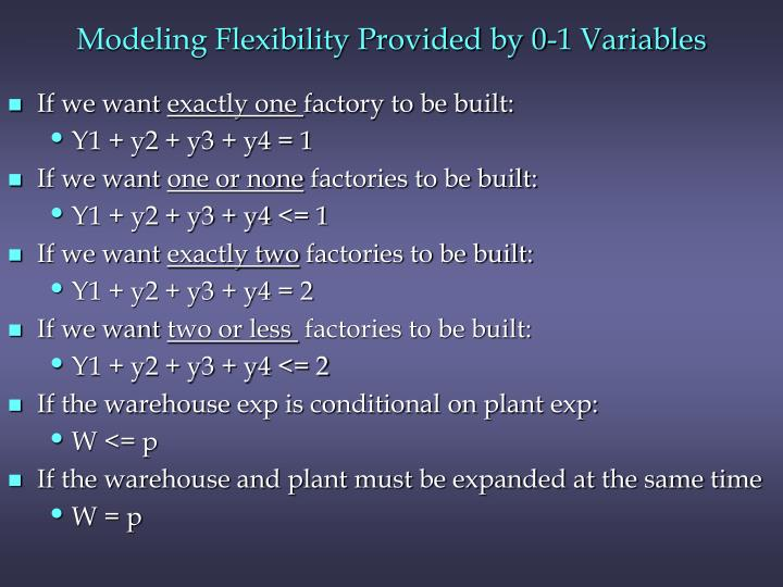 Modeling Flexibility Provided by 0-1 Variables