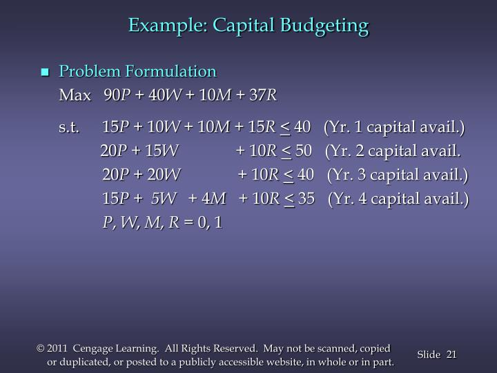 Example: Capital Budgeting