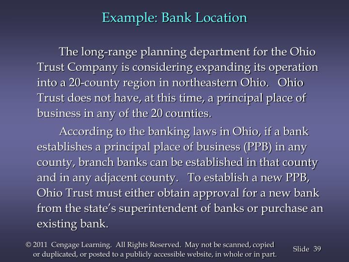 Example: Bank Location