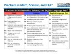 practices in math science and ela