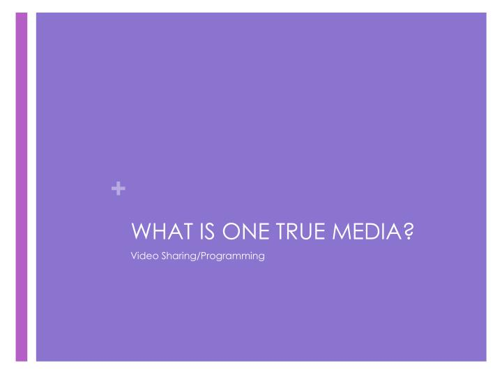 WHAT IS ONE TRUE MEDIA?