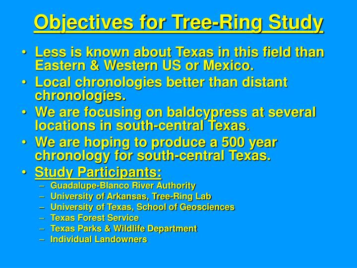 Objectives for Tree-Ring Study