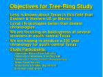 objectives for tree ring study