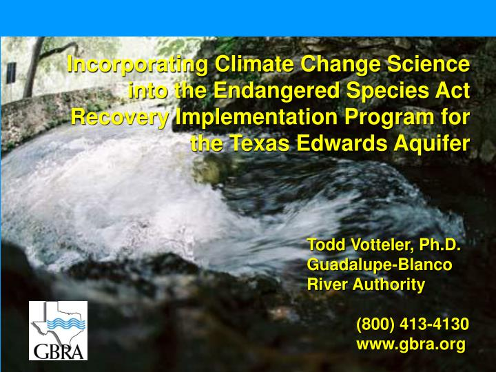 Incorporating Climate Change Science into the Endangered Species Act Recovery Implementation Program for