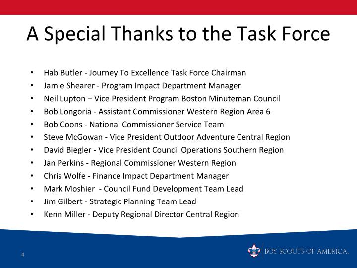 A Special Thanks to the Task Force