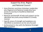 support by area region and national council