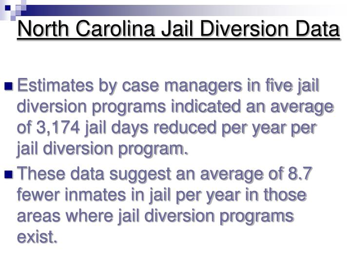 North Carolina Jail Diversion Data