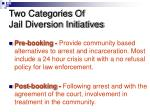 two categories of jail diversion initiatives