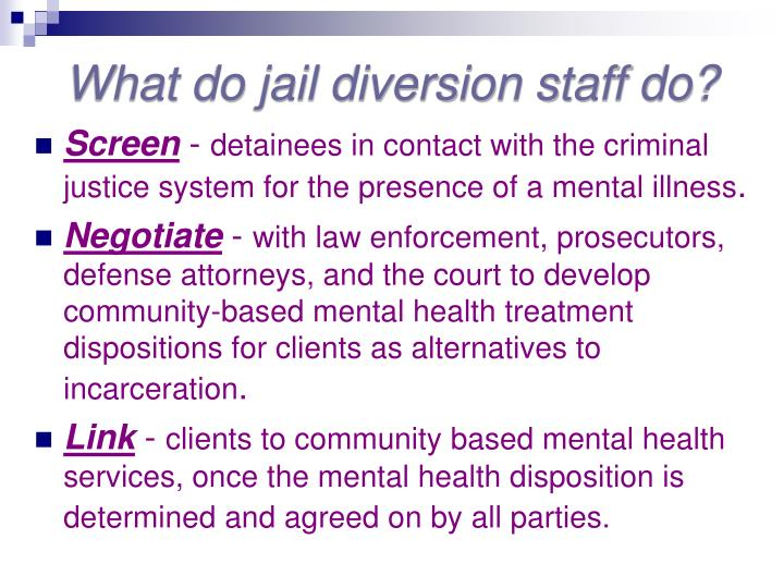 What do jail diversion staff do?