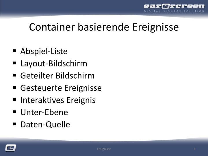 Container basierende Ereignisse