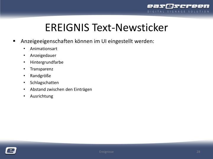 EREIGNIS Text-Newsticker