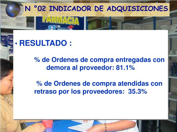 N °02 INDICADOR DE ADQUISICIONES